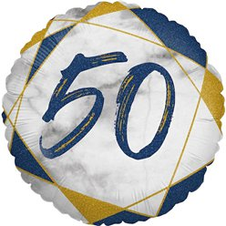 "50th Birthday Navy Marble Effect Balloon - 18"" Foil"
