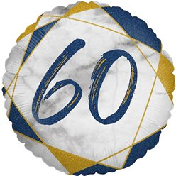 "60th Birthday Navy Marble Effect Balloon - 18"" Foil"