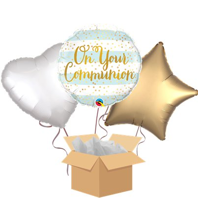 On Your Communion Blue Balloon Bouquet - Delivered Inflated