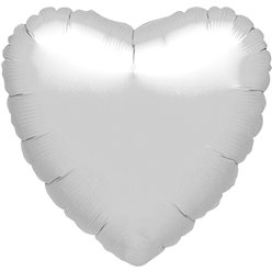 "Metallic Silver Heart Balloon - 18"" Foil - unpackaged"