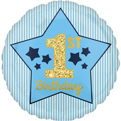"1st Birthday Blue & Gold Balloon - 18"" Foil"