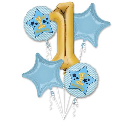 1st Birthday Blue & Gold Balloon Bouquet