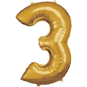 Gold Number 3 Balloon - 34