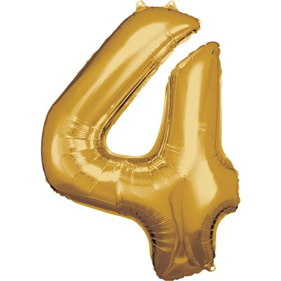 "Gold Number 4 Balloon - 34"" Foil"