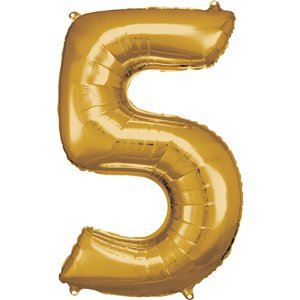 Gold Number 5 Balloon - 34