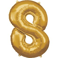 "Gold Number 8 Balloon - 34"" Foil"