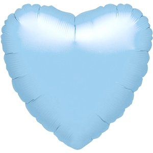 Metallic Pearl Pastel Blue Heart Balloon - 18'' Foil -unpackaged