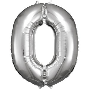 Silver Number 0 Balloon - 34