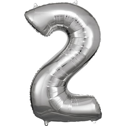 "Silver Number 2 Balloon - 34"" Foil"