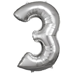 "Silver Number 3 Balloon - 34"" Foil"