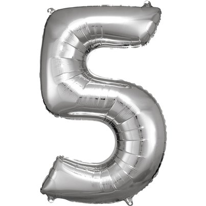 "Silver Number 5 Balloon - 34"" Foil"