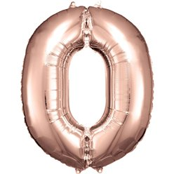"Rose Copper Number 0 Balloon - 34"" Foil"