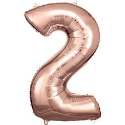 "Rose Copper Number 2 Balloon - 34"" Foil"