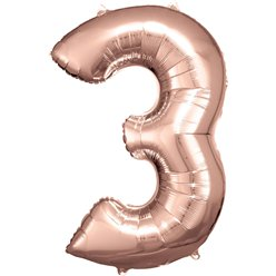 "Rose Copper Number 3 Balloon - 34"" Foil"
