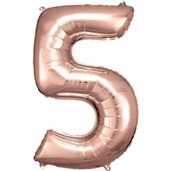 "Rose Copper Number 5 Balloon - 34"" Foil"