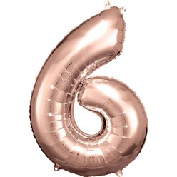 "Rose Copper Number 6 Balloon - 34"" Foil"
