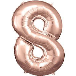 "Rose Copper Number 8 Balloon - 34"" Foil"