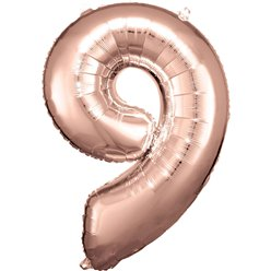 "Rose Copper Number 9 Balloon - 34"" Foil"