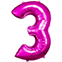 "Pink Number 3 Balloon - 34"" Foil"