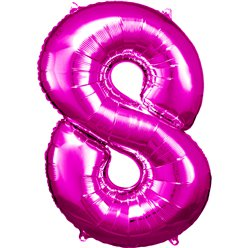 "Pink Number 8 Balloon - 34"" Foil"