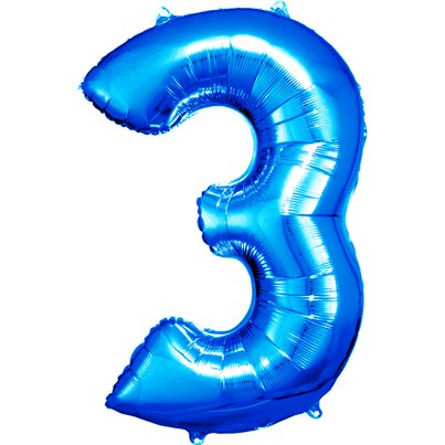 "Blue Number 3 Balloon - 34"" Foil"