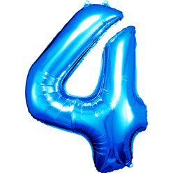 "Blue Number 4 Balloon - 34"" Foil"