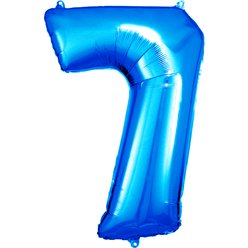 "Blue Number 7 Balloon - 34"" Foil"