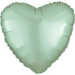 "Mint Green Satin Luxe Heart Balloon - 18"" Foil"