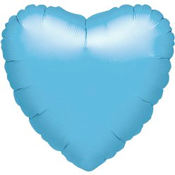 "Pale Blue Heart Balloon - 18"" Foil - unpackaged"