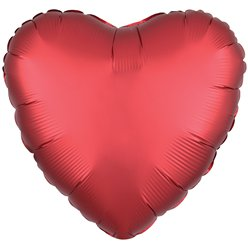 "Sangria Red Satin Luxe Heart Balloon - 18"" Foil"
