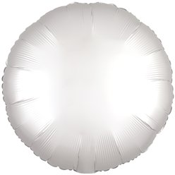 "White Satin Luxe  Circle Balloon - 18"" Foil"