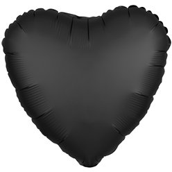 "Onyx Black Satin Luxe Heart Balloon - 18"" Foil"