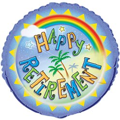 "Happy Retirement Rainbow Balloon - 18"" Foil"