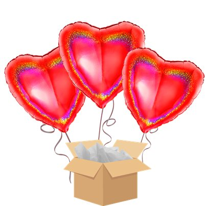 Red Holographic Hearts Balloon Bouquet - Delivered Inflated