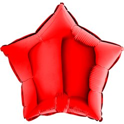 "Red Star Balloon - 18"" Foil - unpackaged"