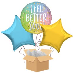 Feel Better Soon Balloon Bouquet - Delivered Inflated