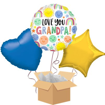Love You Grandpa Balloon Bouquet - Delivered Inflated