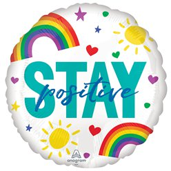 "Stay Positive Double Sided Balloon - 18"" Foil"