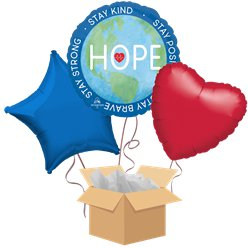 Hope / Hero Balloon Bouquet - Delivered Inflated