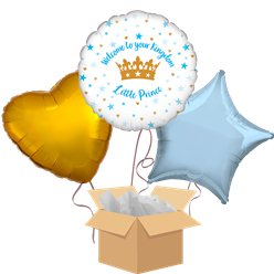 Welcome Little Prince Baby Balloon Bouquet - Delivered Inflated