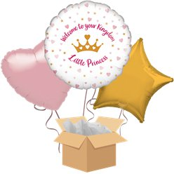 Welcome Little Princess Baby Balloon Bouquet - Delivered Inflated