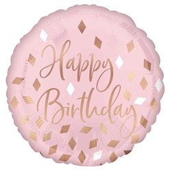 "Blush Happy Birthday Balloon - 18"" Foil"