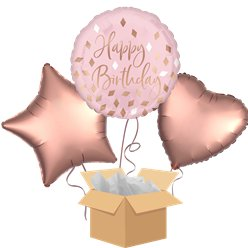 Blush Happy Birthday Balloon Bouquet - Delivered Inflated