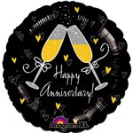 Champagne Glasses Happy Anniversary Balloon - 18