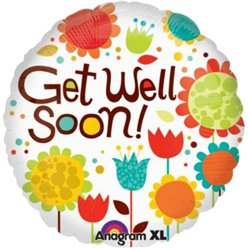"Get Well Soon Cheery Flowers Balloon - 18"" Foil"