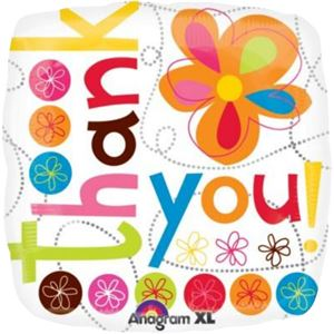 Thank You Colourful Flowers Balloon - 18