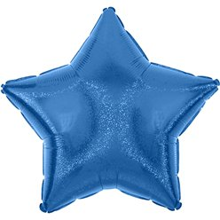 "Blue Dazzler Star Balloon - 19"" Foil - Unpackaged"