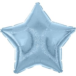 "Pastel Blue Dazzler Star Balloon - 19"" Foil - Unpackaged"