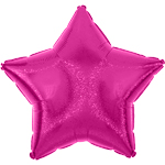 "Fuchsia Pink Dazzler Star Balloon - 19"" Foil - unpackaged"