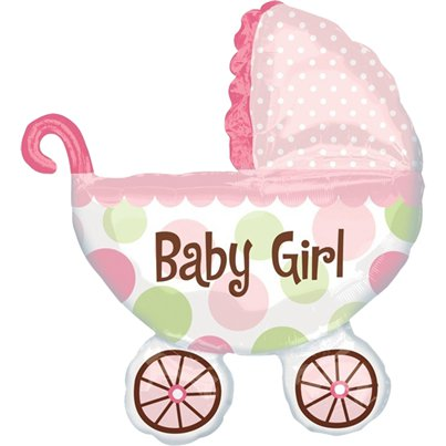 "Baby Buggy Girl SuperShape Balloon - 31"" Foil"